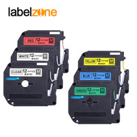 6 pçs 12mm conjunto combinado mk fitas de etiquetas compatível para brother p-touch fita de impressora de etiquetas M-K231 MK-231 mk231 mk131 mk431 531 m 231