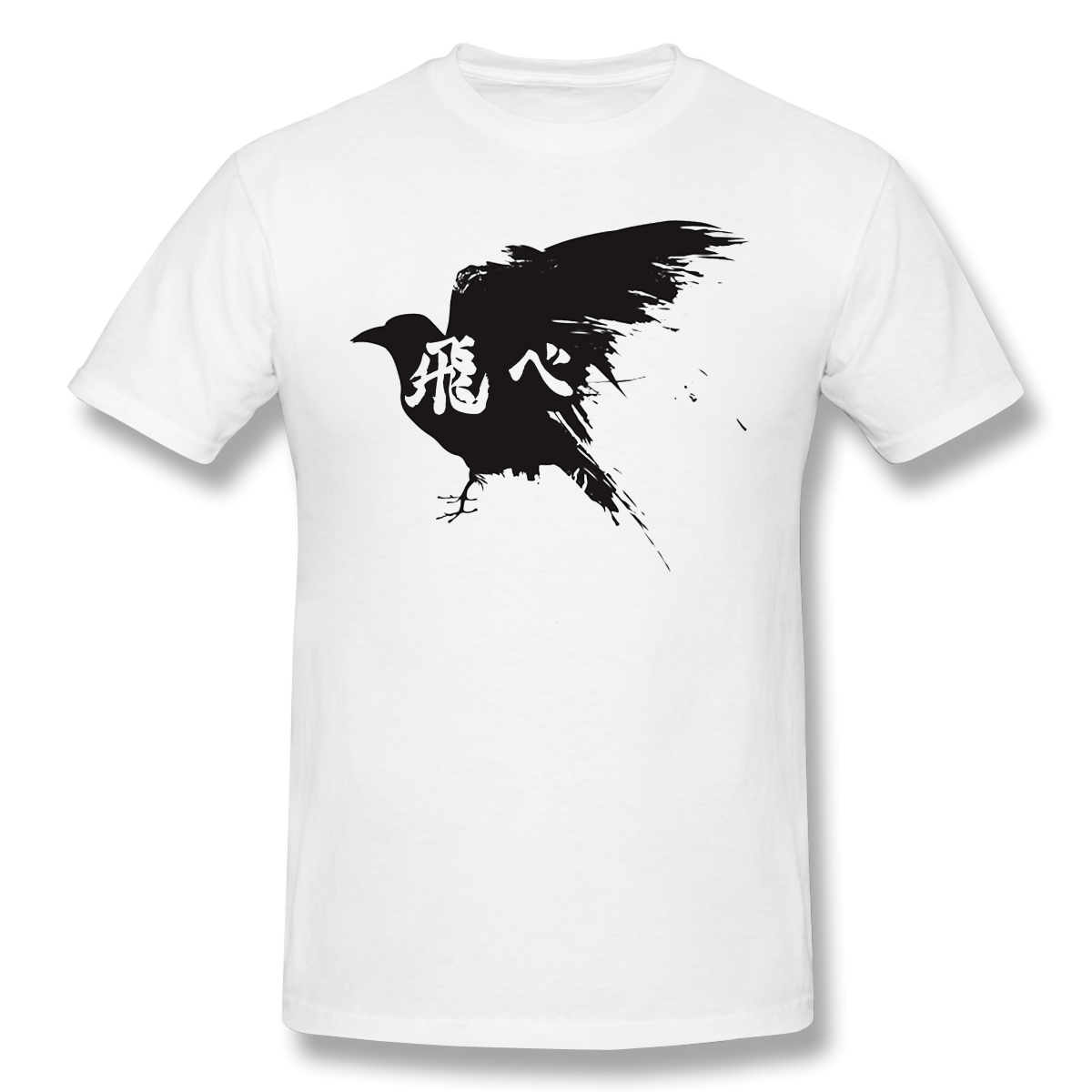 Haikyuu japanese sport anime T-Shirts for Men Crow Fly Funny Crewneck Cotton Graphic T Shirt off white Short Sleeve Tees Printed image