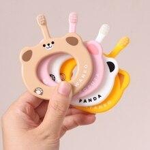 Пищевая силиконовая Прорезыватель с зубной щёткой милые малыши животные кольцо Прорезыватель Детские силиконовые жевательные Подвески Детские Прорезыватели Игрушки для малышей