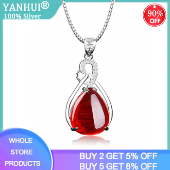 YANHUI 100% Natural 925 Silver Ruby Pendant Necklaces for Women Silver 925 Necklace Luxury Jewelry Valentine's Day Birthday Gift [meibapj] 925 silver 100