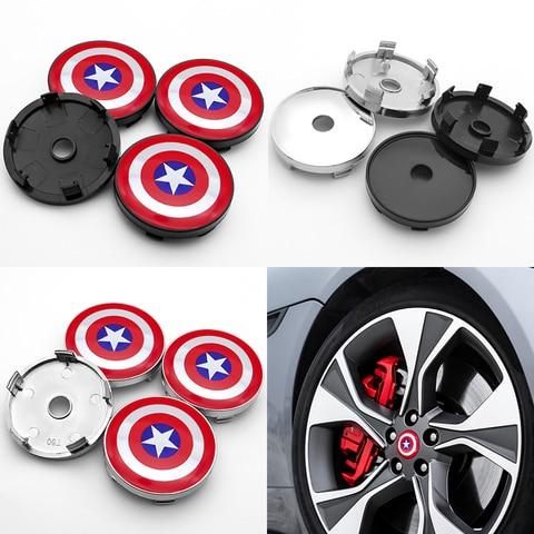 Captain America Shield logo 4pcs 60mm emblem Wheel Center Hub Caps Badge covers car styling auto accessories Pakistan