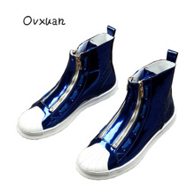 OVXUAN Blue Sneakers Mens Shoes Casual Patent Leather Shell Cap High Top Men