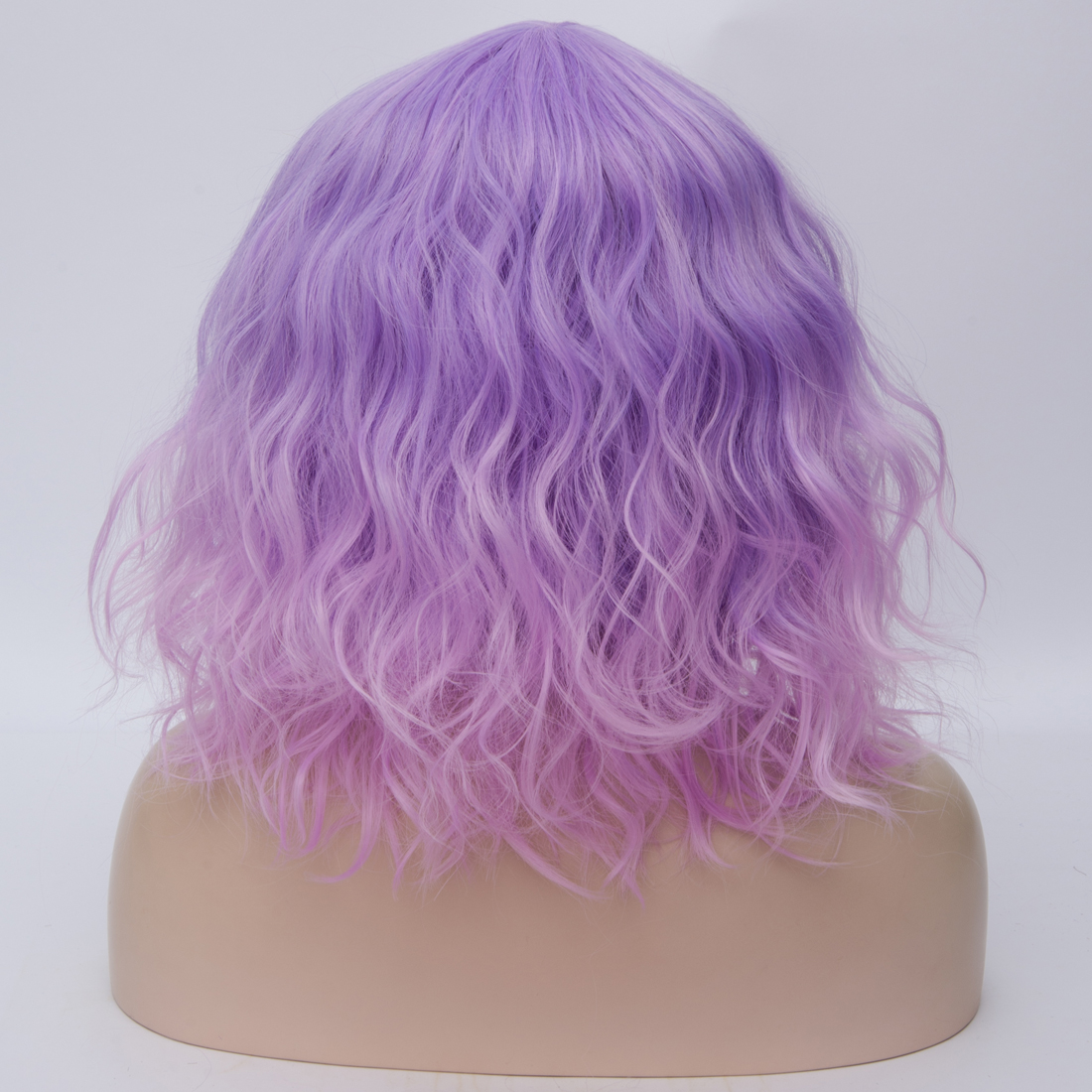 He42f227ff3c14481b526aa7ed4f4030aQ - Similler Short Synthetic Wig for Women Cosplay Curly Hair Heat Resistance Ombre Color Blue Purple Pink Green Orange Two Tones