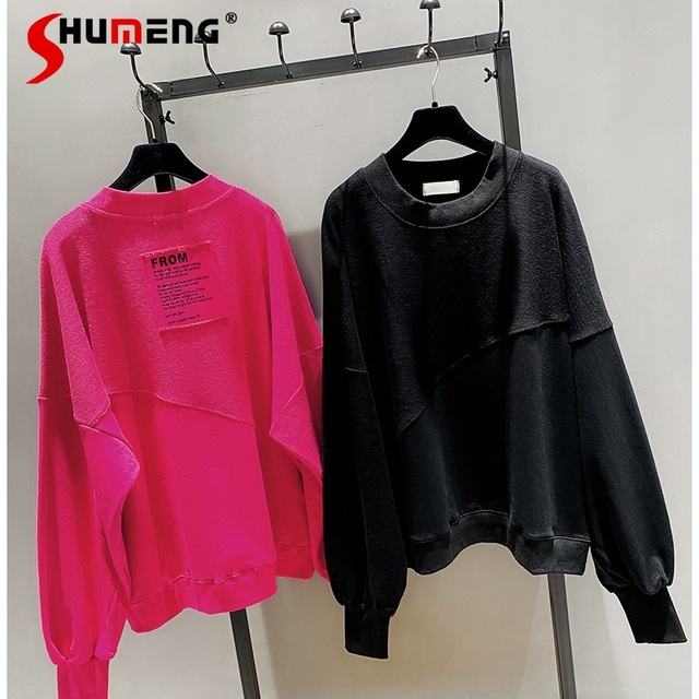 2021 New Spring Autumn Loose Korean Style Loose Women Top Cotton Ins Hoodie Round Neck Simple Pullover Sweatshirt 2
