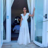 Uguest винтажное сексуальное женское белое кружевное платье размера плюс А-силуэта с v-образным вырезом из кусков в стиле ампир для отдыха своб...