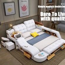 Massage-Bed Frame Storage Bluetooth-Speaker Multifunctional Modern Genuine-Leather Luxury