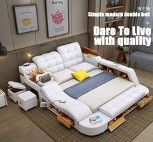Luxo couro genuíno multifuncional massagem cama 1.8m quadro moderno ultimate cama com armazenamento led luz bluetooth alto-falante seguro