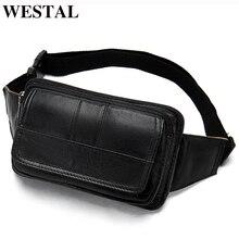 WESTAL Mens Waist Bags Genuine Leather Male Fanny Pack Phone Belt Bag Men Hip Bags Pouch Money Belt Bags Sport Waist Pack 8966