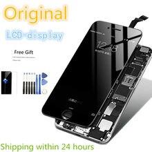 Original bom display touch screen remodelado lcd para iphone 5S se 6s mais 7 8 preto branco digitador assembléia substituição