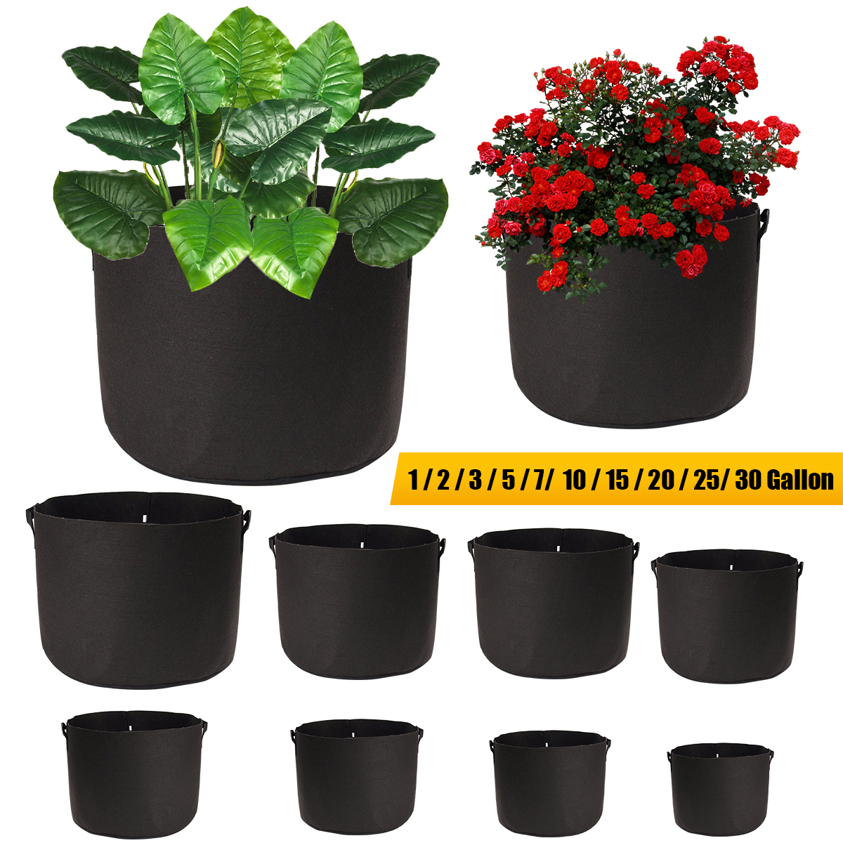 Black Fabric Pots Plant Grow Bags with Handles Planting Bag Seedling Flowerpot Size 1, 2, 3, 5, 7, 10, 15, 20 ,25, 30 Gallon(China)