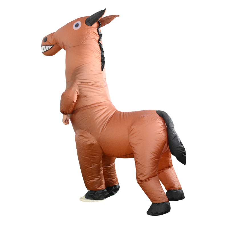 Adults Horse Inflatable Costume Halloween Animal Mascot Cosplay Fancy Dress Suit