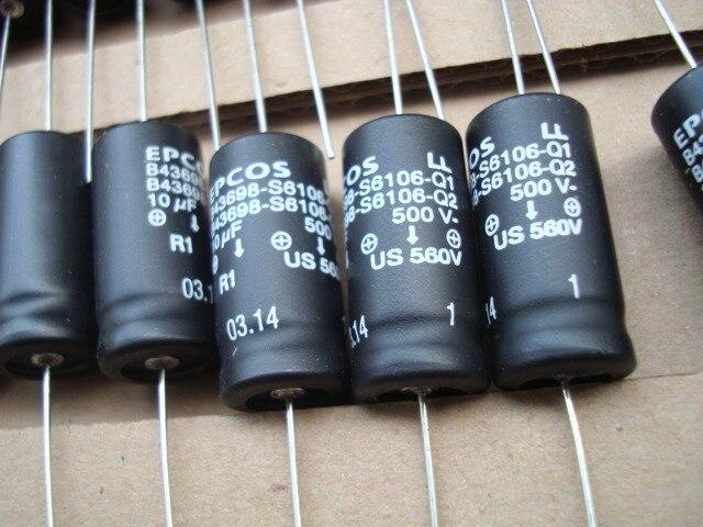 10PCS חדש EPCOS B43698 500V 10UF 550V 10UF 14X30MM B43698S6106Q קופסא מקורית צירי מסונן צימוד אלקטרוליטי קבלים