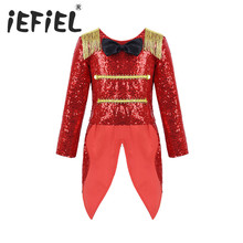 Kids Girls Ringmaster Circus Costume Long Sleeves Shiny Sequins Bowtie Fringe Swallow Tailed Coat for Halloween Cosplay Party