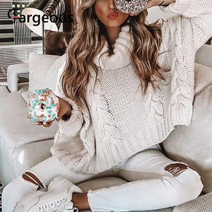 Image 1 - Long Sleeve Turtleneck Crop Sweater 2019 Autumn Winter Thick Solid Harajuku Oversized Pullover White Kintted Jumper Tops