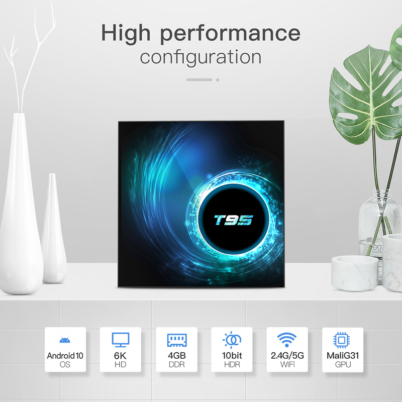 New T95 Android10 Network 4+64G Dual WiFi Smart Set Top <font><b>TV</b></font> <font><b>Box</b></font> Quad Core HD Media Player With <font><b>UK</b></font> Power Adapter image