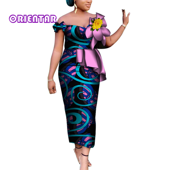 2020 Women Fashion Ankara Dress with Flower African Dresses for Wome Bazin Riche Plus Size Dress M-6XL Private Custom WY6974