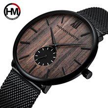 HM Fashion-reloj analógico de acero inoxidable para hombre, accesorio de pulsera de cuarzo resistente al agua con esfera redonda pequeña, diseño sencillo y a la moda