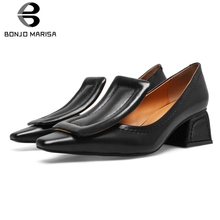 купить BONJOMARISA Summer Brand Designer Pumps Women 2019 Genuine Leather OL Shallow Shoes Woman Black Chunky Heels Pumps дешево