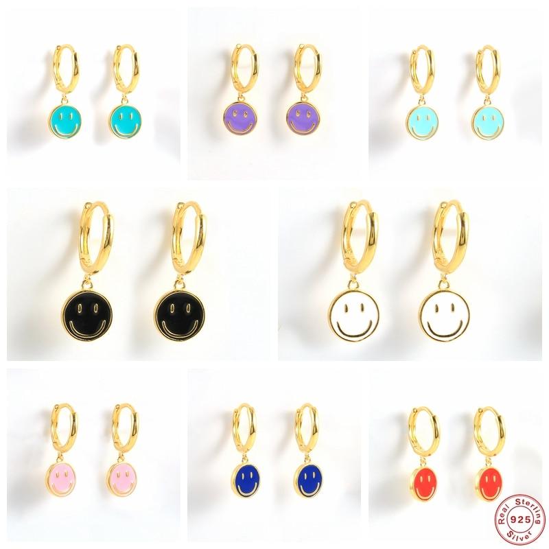 Colorful Enamel Smile Face Dangle Earrings For Women S925 Sterling Silver Cute Macaron Dripping Oil Drop Earring Fine Jewerly