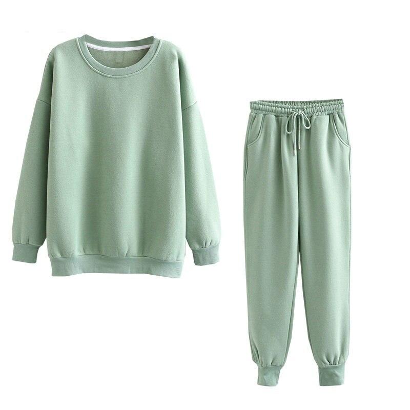 Tangada 2020 Autumn Winter Women warm yellow fleece 100% cotton suit 2 pieces sets o neck hoodies sweatshirt pants suits 6L24 14