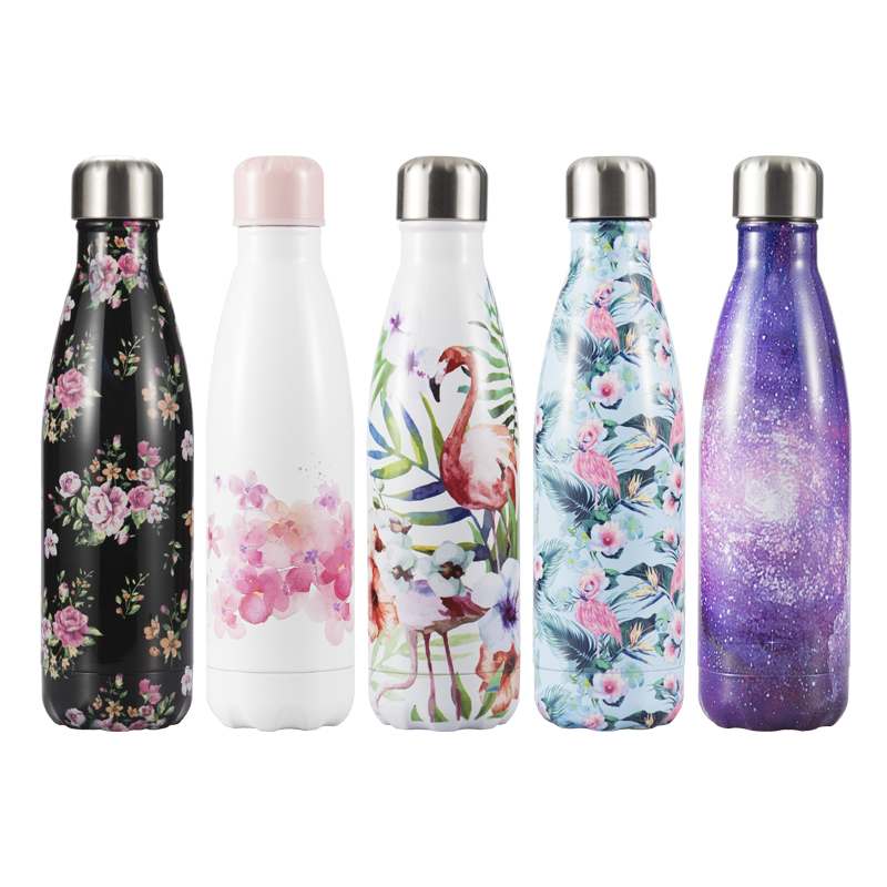 Flamingo Floral Water Bottle Sport Stainless Steel Thermos Water+Bottles Coffee Mug Insulated Tea Cup