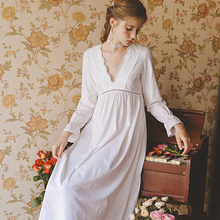 여성 잠옷 코튼 여성 가을 긴 소매 V 넥 잠옷 복장 Nightshirts 화이트 Nightwear 빈티지 ins 패션