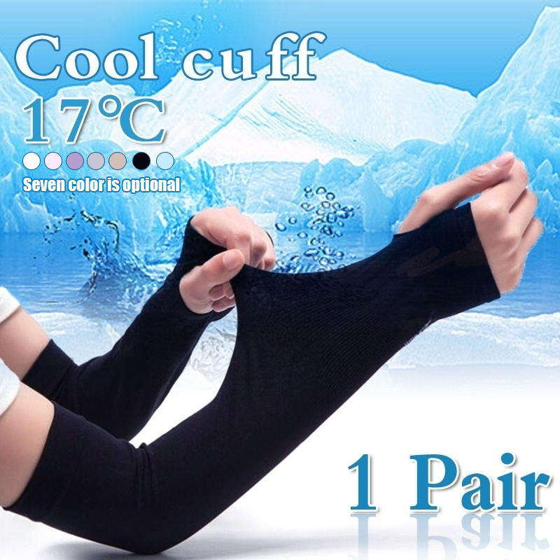 <font><b>1</b></font> Pair Outdoor Cycling <font><b>Sun</b></font> Protection Arm Sleeves Bicycle Ice Arm Support Protector image
