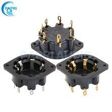 PAPRI 1PCS AD1 EL1 EL3 EL5 AZ4 EF1 Bakelite P8A Gold Plated 8Pin Tube Socket Audio DIY Amplifier