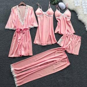 Image 2 - 5 Pieces Women Sexy Pajamas Silk Satin Pajamas Autumn Spring Elegant Lace Nightwear large Size Sleep Lounge