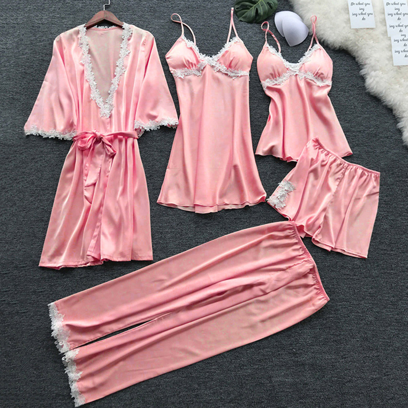 Image 4 - Sexy Women's Robe & Gown Sets Lace Bathrobe + Night Dress 5 Five Pieces Sleepwear Womens Sleep Set Faux Silk Robe Femme NO.337-in Robe & Gown Sets from Underwear & Sleepwears