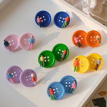 Super Lovely Colorful Fastener Humanoid Funny Stud Earrings Fashion Creative Candy Color Unique Earring Studs for Women Girls(China)