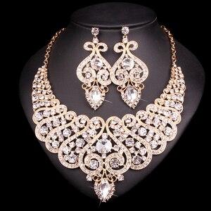 Image 3 - 웨딩 크리스탈 반지 팔찌 목걸이 귀걸이 세트에 대 한 설정 럭셔리 신부 보석 인도 파티 의상 액세서리 여성을위한 선물