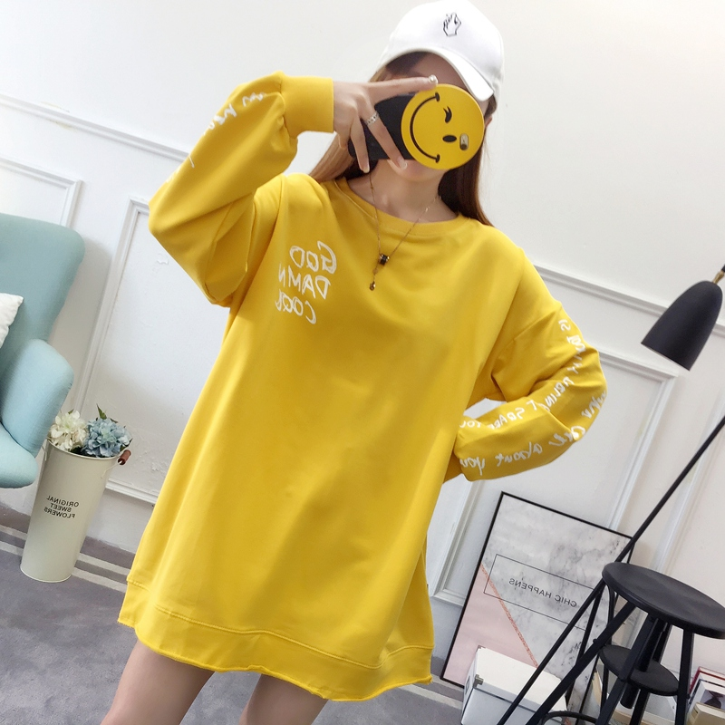 2019 autumn new Korean version of the XL T-shirt women's thin section long-sleeved loose hole wild T-shirt shirt women 63