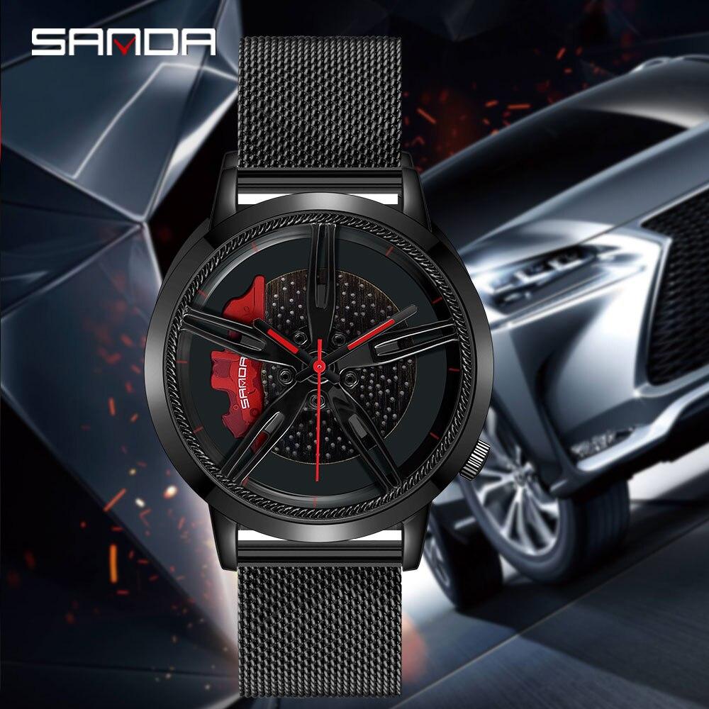SANDA Top Brand New Men Wristwatch Fashion 3D Racing Car Wheel Series Dial Steel Grid Strap Waterproof Watch Relogio Masculino