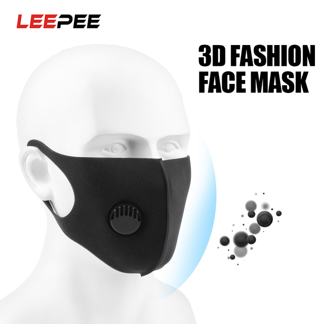 LEEPEE Filter Anti Pollution PM2.5 Mouth Face Mask Washable Reusable for Adult Black Anti Carbon Masks Sponge Mouth Mask