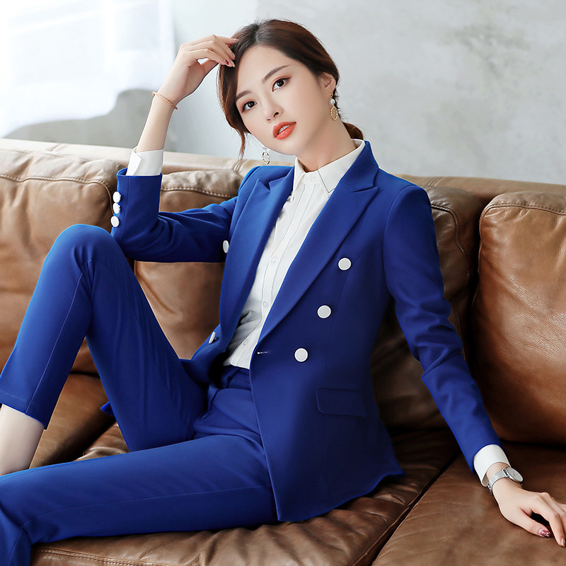 IZICFLY New Spring Fall Blue Formal Trouser Suit Women Work Wear Uniform For Ladies Suits Office Elegant Business Pants Suit 4XL