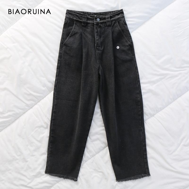 BIAORUINA Women's Black Washing Denim Jeans Female Loose Harem Pant Women Fashion High Waist Warm Jeans 2019 New Arrival
