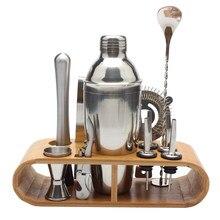 Juego de coctelera de acero inoxidable, herramientas de coctelera con estante de madera, 750ml/600ml