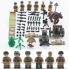 WW2 Military Army Soviet Soldiers Figures Building Blocks Officer PPSH41 weapon Accessories Bricks Toys