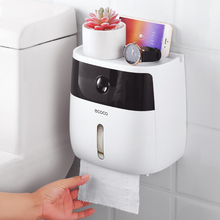 Toilet Paper Holder White Wall-Mounted Waterproof Shelf Phone Tray Roll Towel Case Storage Box