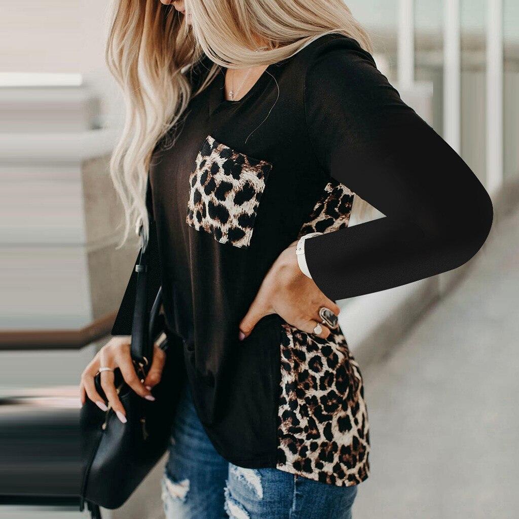 Frauen Patchwork T Shirts Mit V-ausschnitt Leopard Druck Spleißen Langarm Sommer Weibliche Tops Casual Tee T-Shirt Femme frauen blusen