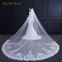 Ivory White 3.5x3m Cathedral Long Wedding Veil One Layer Lace Appliques Embellished Bridal Veils Free Shipping