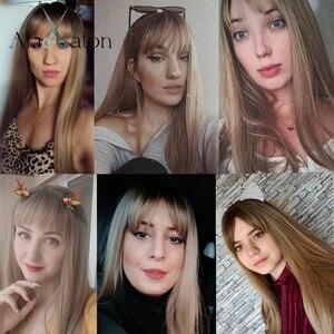 Image 4 - ALAN EATON длинные парики с Омбре, коричневые, светлые парики с челкой для косплея, синтетические для чернокожих женщин, прямые, вечерние парики из натуральных волос