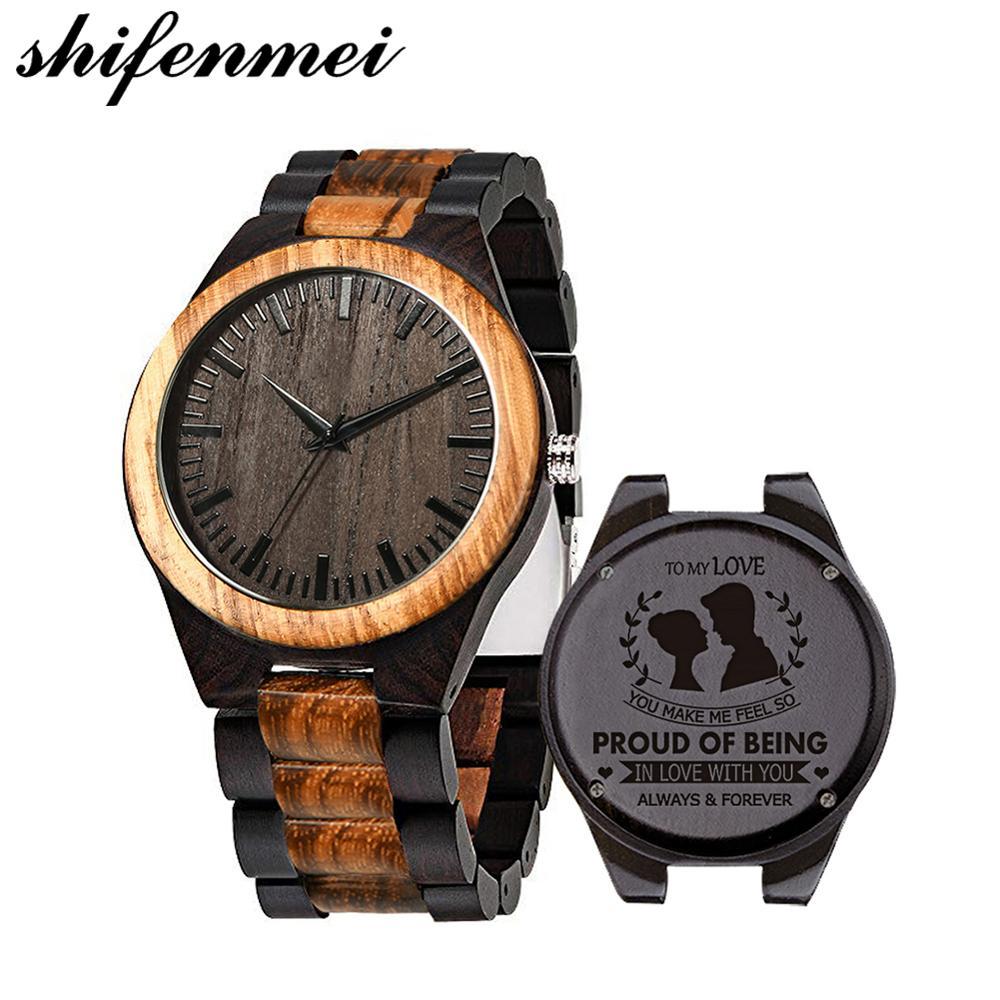 Shifenmei мужские часы для мужа Love Dad настраиваемые Гравированные деревянные часы для женщин женские наручные кварцевые часы для пары|Кварцевые часы|   | АлиЭкспресс