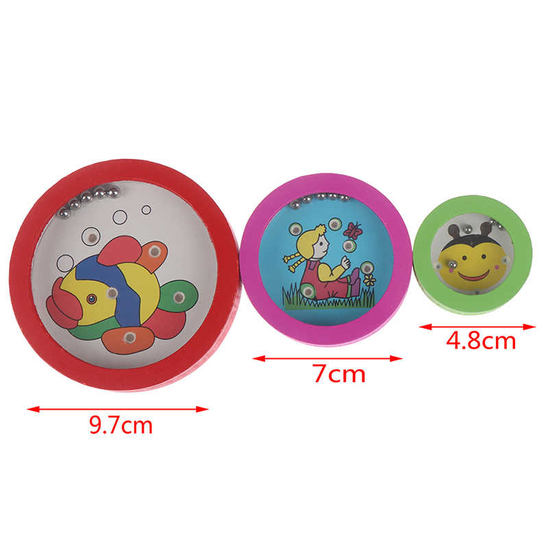 1Pc חיות מצוירות עגול עץ פאזל מגנט חרוזים חריץ מבוך לוח משחק צעצועים חינוכיים למידה מודיעין משחק לילדים