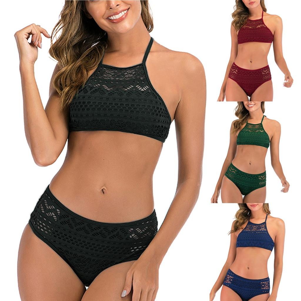 Women's Sexy Two Piece Crochet Lace High Waist V Neck Bikini Set Swimsuit Swimwear Beachwear Bathing Suit Biquini купальник