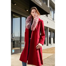 Escalier Womens Trench Long Wool Coat with Real Fox Fur Collar