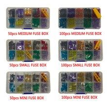 Combinación de fusibles de coche 50/100 Uds conjunto surtido para fusibles de coche tipo hoja 2/3/5/7.5/10/15/20/25/30/35A con caja y Clip