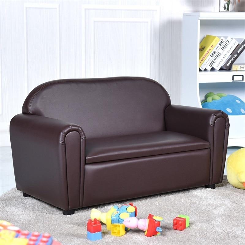 Kids Sofa Armrest Chair W/ Storage Function Sponge Filled Anti-skip Two Seat Children's Sofas HW58616