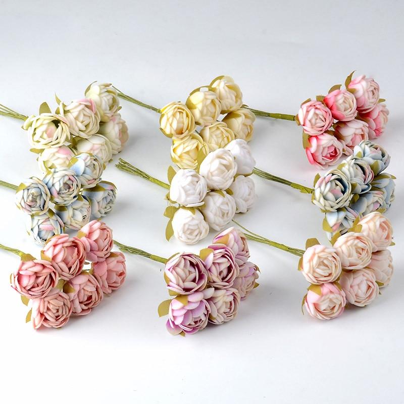 6pcs Mini Silk Tea Rose Bud Artificial Rose Flower Bouquet Scrapbooking Wedding Party Decoration DIY Handmade Fake Flowers Craft